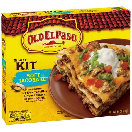 (4 Pack) Old El Paso Soft Taco Bake Dinner Kit, 8.4 oz Box