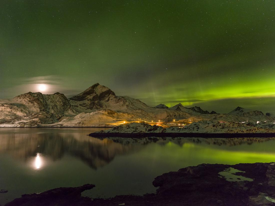 Aurora Borealis Lofoten islands Norway canvas picture print green blue colours