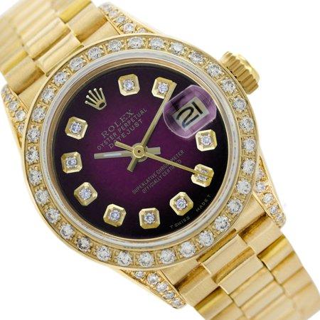 Pre-owned Rolex Ladies Datejust 18K Gold Purple Vignette Diamond Bezel