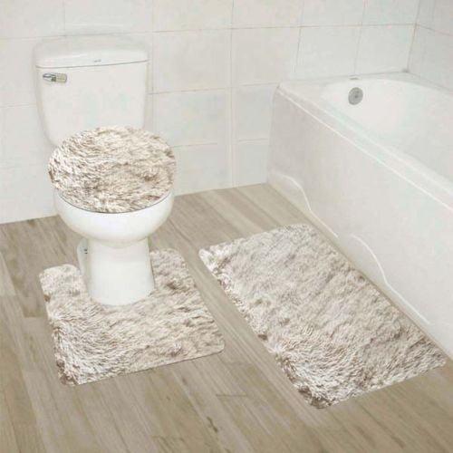 New High Quality Bathroom Bath Rug Mat Set /& Toilet Lid Cover #7 2-T BROWN//BEIGE