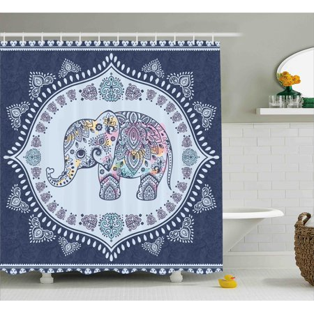Indian Shower Curtain Bohemian Elephant Figure With Gypsy Embellishments Spiritual Oriental Figures Graphic Fabric