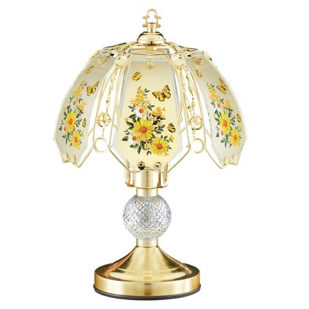 Yellow Oil Lamp - Yellow Daisy Butterfly Gold-Toned Touch Lamp with Gold Base - Decorative Tabletop Light for Any Room in Home