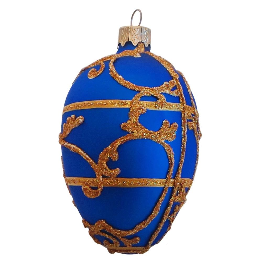 "4"" Blue Bonbonniere Inspired Egg Glass Christmas Ornament"