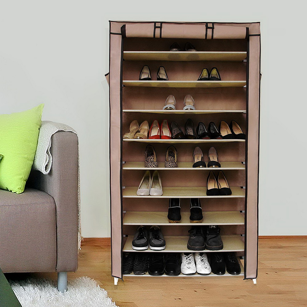 Zimtown 10 Tiers 45 Pairs Shoe Rack Shelf Storage Closet Home Organizer Cabinet w/ Cover