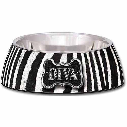 Loving Pets Milano Medium Diva Dog Bowl, Zebra