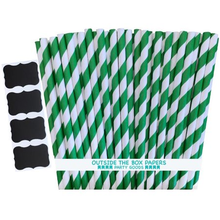 Green and White Striped Paper Straws   Pack of 100 ()