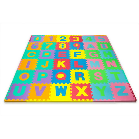 Matney Foam Mat of Alphabet and Number Puzzle Pieces with Borders Included, Great for Kids to Learn and Play, 36 Tile Pieces (Alphabet Tiles)