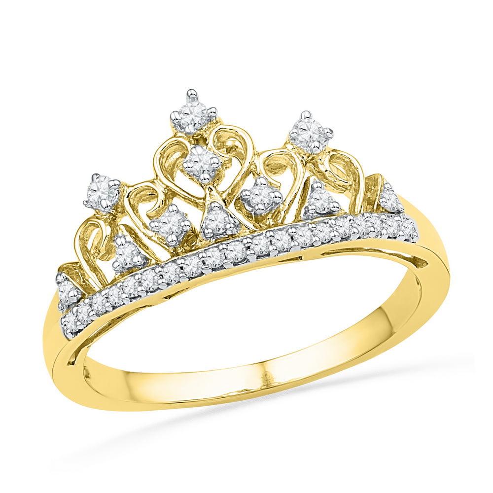 10kt Yellow Gold Womens Round Diamond Tiara Crown Band Ri...