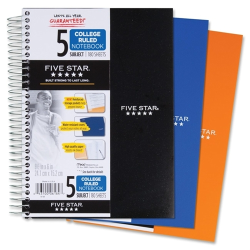 Mead Five Star 5-Subject College-Ruled Notebook, Assorted Colors