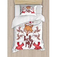 Christmas Duvet Cover Set, Holly Jolly Calligraphy Flying Birds and Branches with Santa Fox, Decorative Bedding Set with Pillow Shams, Dark Pink and Multicolor, by Ambesonne