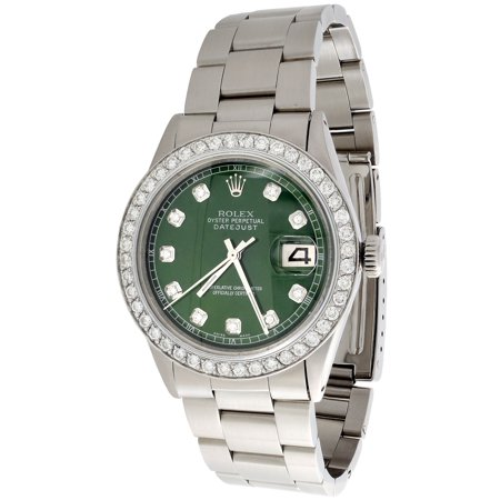 Mens Rolex 36mm DateJust Diamond Watch Oyster Steel Band Custom Green Dial 2 CT