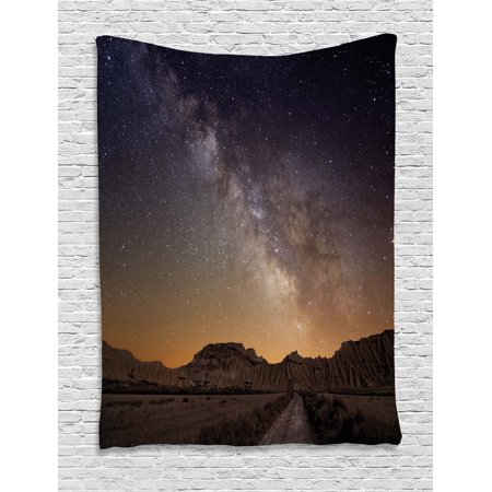 Night Tapestry, Milky Way over Desert of Bardenas Spain Ethereal View Hills Arid Country, Wall Hanging for Bedroom Living Room Dorm Decor, Plum Apricot Chocolate, by Ambesonne