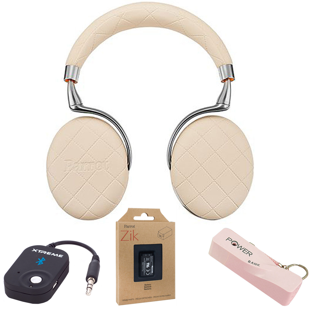 Parrot Zik 3 Wireless Noise Cancelling Bluetooth Headphones (Ivory Overstitched) w/Headphone Bundle