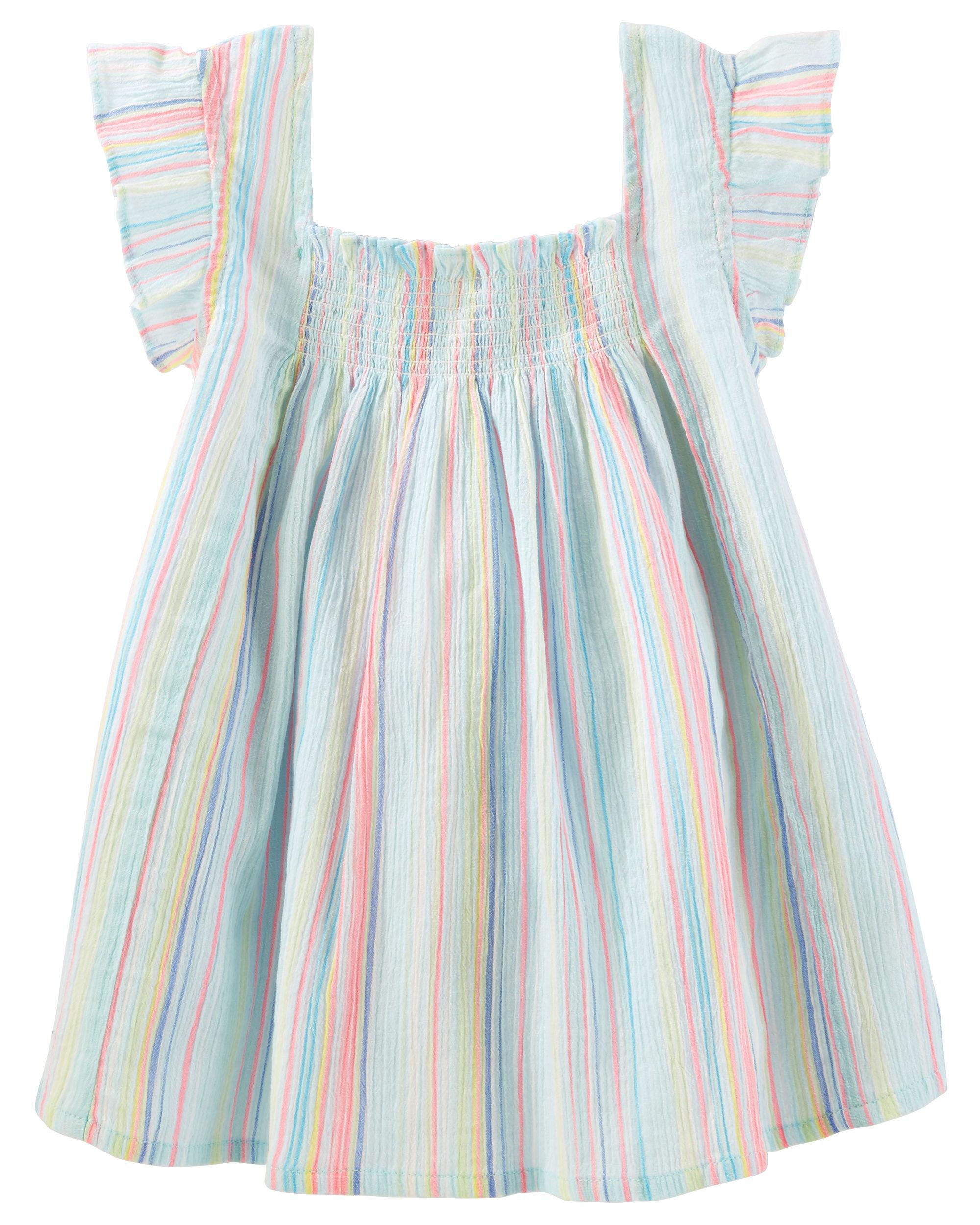 OshKosh B'gosh Big Girls' Smocked Stripe Top, 7-Kids
