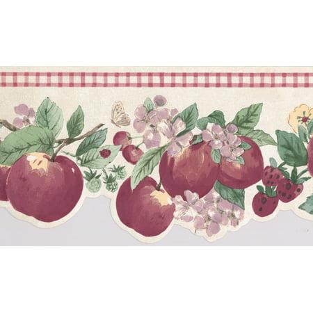 Red Apple Strawberry Cherry Purple Yellow Flowers Cracked White Red Trim Wallpaper Border Retro Design, Roll 15' x 7