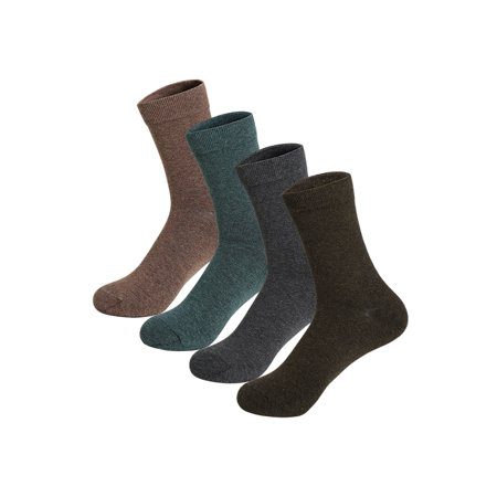 Men 4 Pack Elastic Cuff Stretchy Cotton Blends Thermal Crew Socks (50s Socks)