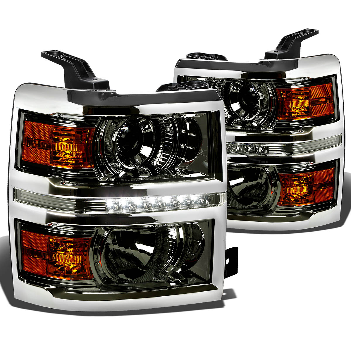 For 14-15 Chevy Silverado LED DRL Light Bar Projector Headlight Smoked Housing Amber Corner Headlamp 1500 Left+Right
