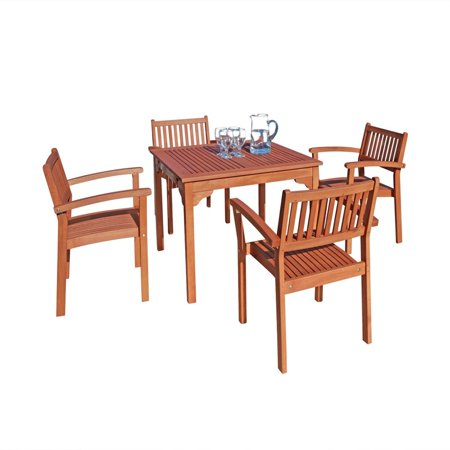 Stacking Patio Set (Malibu Outdoor 5-piece Wood Patio Dining Set with Stacking)