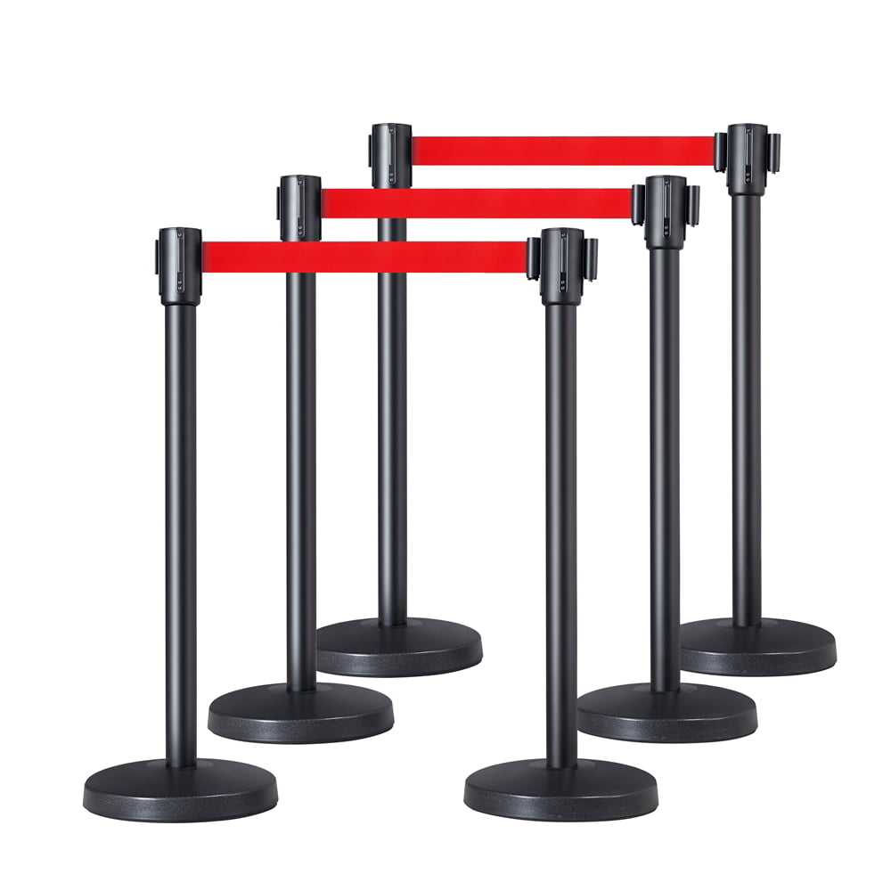 Smilemart Retractable Belt Stanchion Set Crowd Control Barriers Nylon Rope Safety Stanchion For Outdoor Indoor Set Of 6 Walmart Com Walmart Com