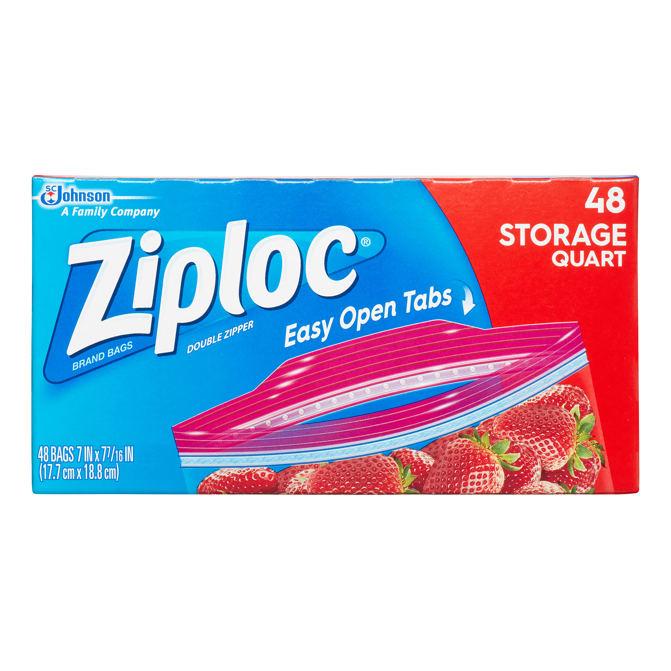 Ziploc Double Zipper Storage Bags, Quart, 48 Ct