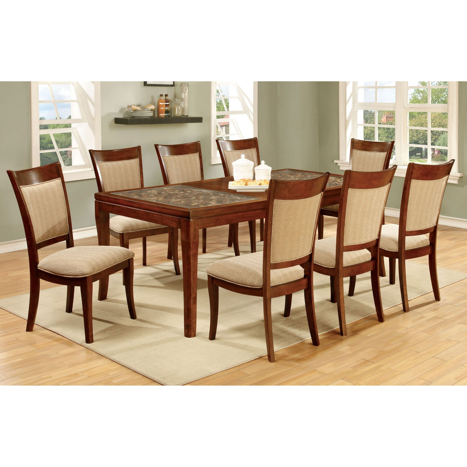 Furniture of America Creekmore 78 in. Dining Table with Woven Table Top Design