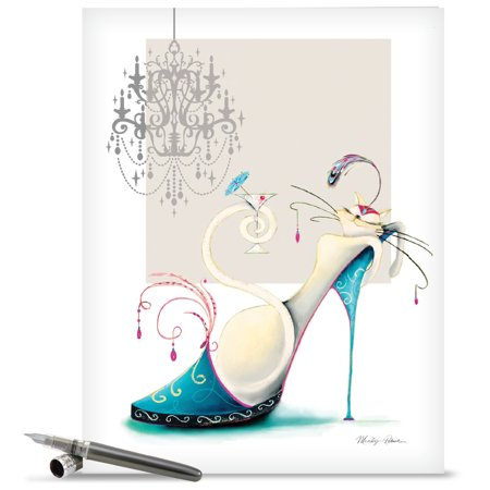 J2324DMDG Extra Large Mother's Day Greeting Card: 'Catitude Shoes' Featuring a Fancy Cat Lounging in a Giant Stylish Shoe Greeting Card with Envelope by The Best Card