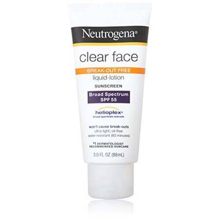 Neutrogena Clear Face Liquid Lotion Sunscreen For Acne-Prone Skin, Broad Spectrum Spf 55, 3  Fl.