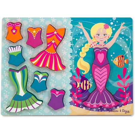 Melissa & Doug Mermaid Dress-Up Wooden Chunky Puzzle (9 pcs) - Doug From Up