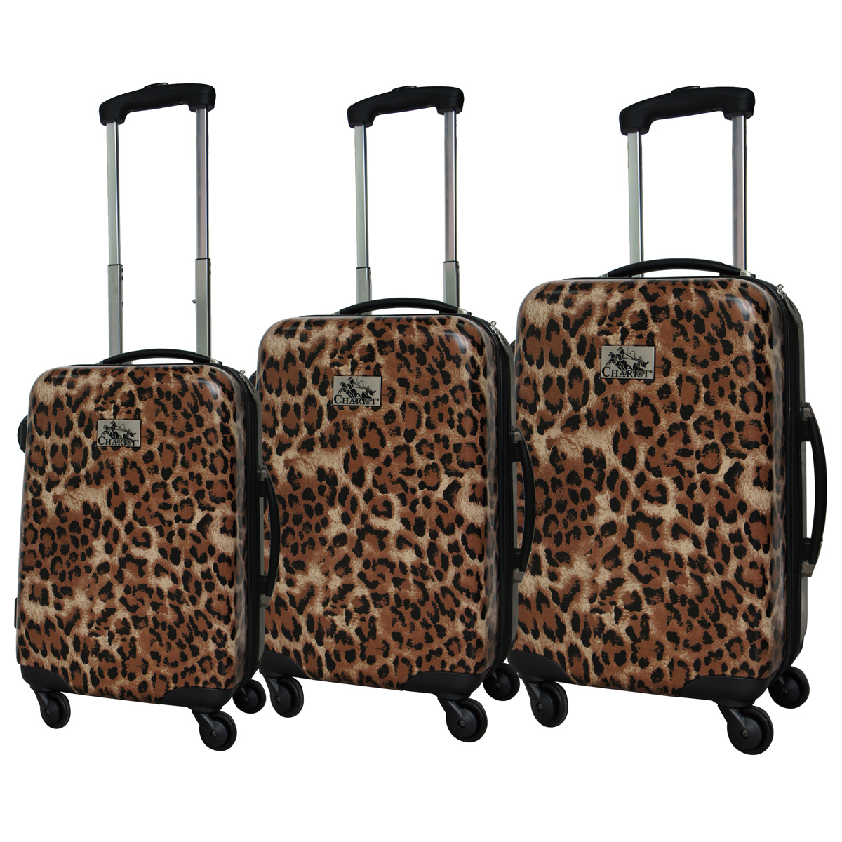 Chariot 3 Piece Hardside Lightweight Spinner Upright Luggage Set, Leopard, One Size