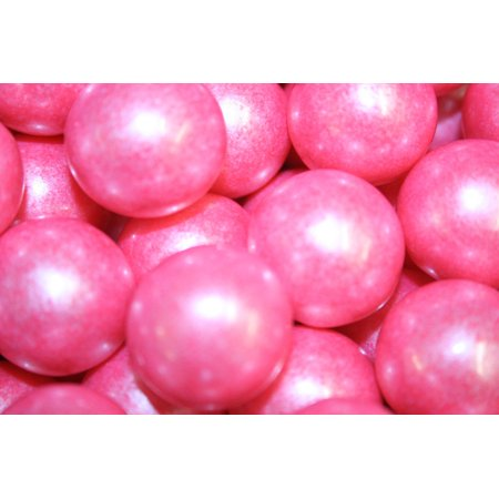 BAYSIDE CANDY GUMBALLS SHIMMER BRIGHT PINK 25mm or 1 inch (114 count), 2LBS (Pink Gumballs Bulk)