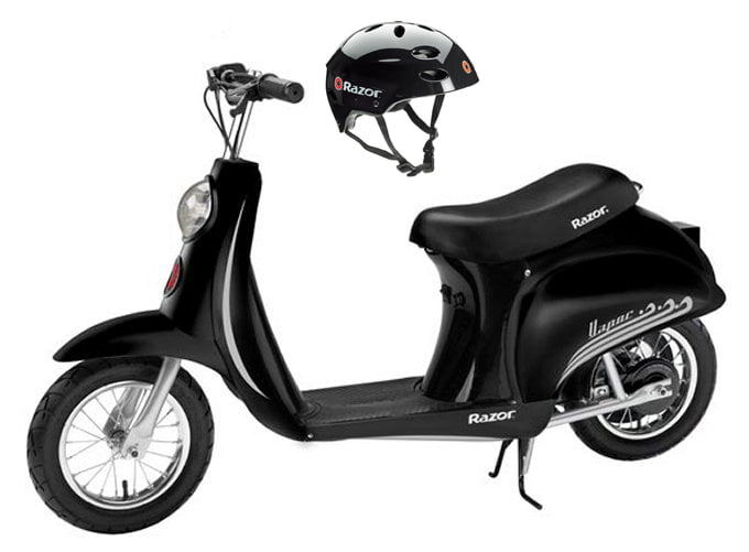 Razor Pocket Mod Vapor Electric Scooter (Black) & Youth Sport Helmet (Black) by Razor