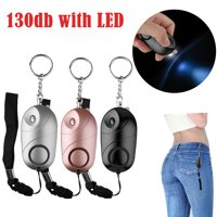 EEEkit 130db Personal Security Alarm Keychain with LED Light, Safesound Safety Emergency Alarms for Women, Kids and Girls, Self Defense Electronic Device as Bag Decoration - Black,Pink,Sliver