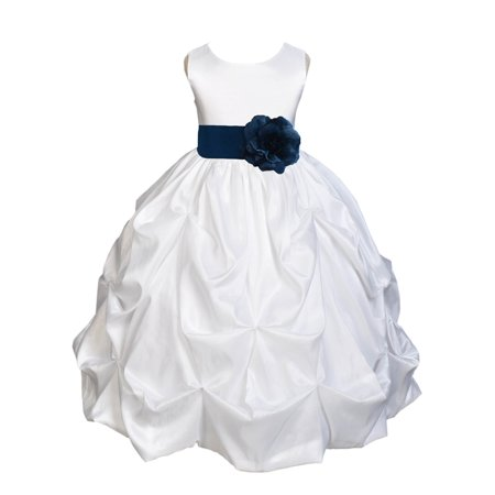Ekidsbridal Taffeta Bubble Pick-up White Flower Girl Dress Weddings Summer Easter Dress Special Occasions Pageant Toddler Girl's Clothing Holiday Bridal Baptism Junior Bridesmaid First Communion 301S - Communion Dresses Size 16