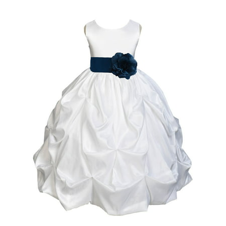 Ekidsbridal Taffeta Bubble Pick-up White Flower Girl Dress Weddings Summer Easter Dress Special Occasions Pageant Toddler Girl's Clothing Holiday Bridal Baptism Junior Bridesmaid First Communion - First Communion Dresses Online