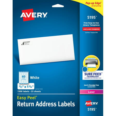 Avery Easy Peel Return Address Labels, 2/3