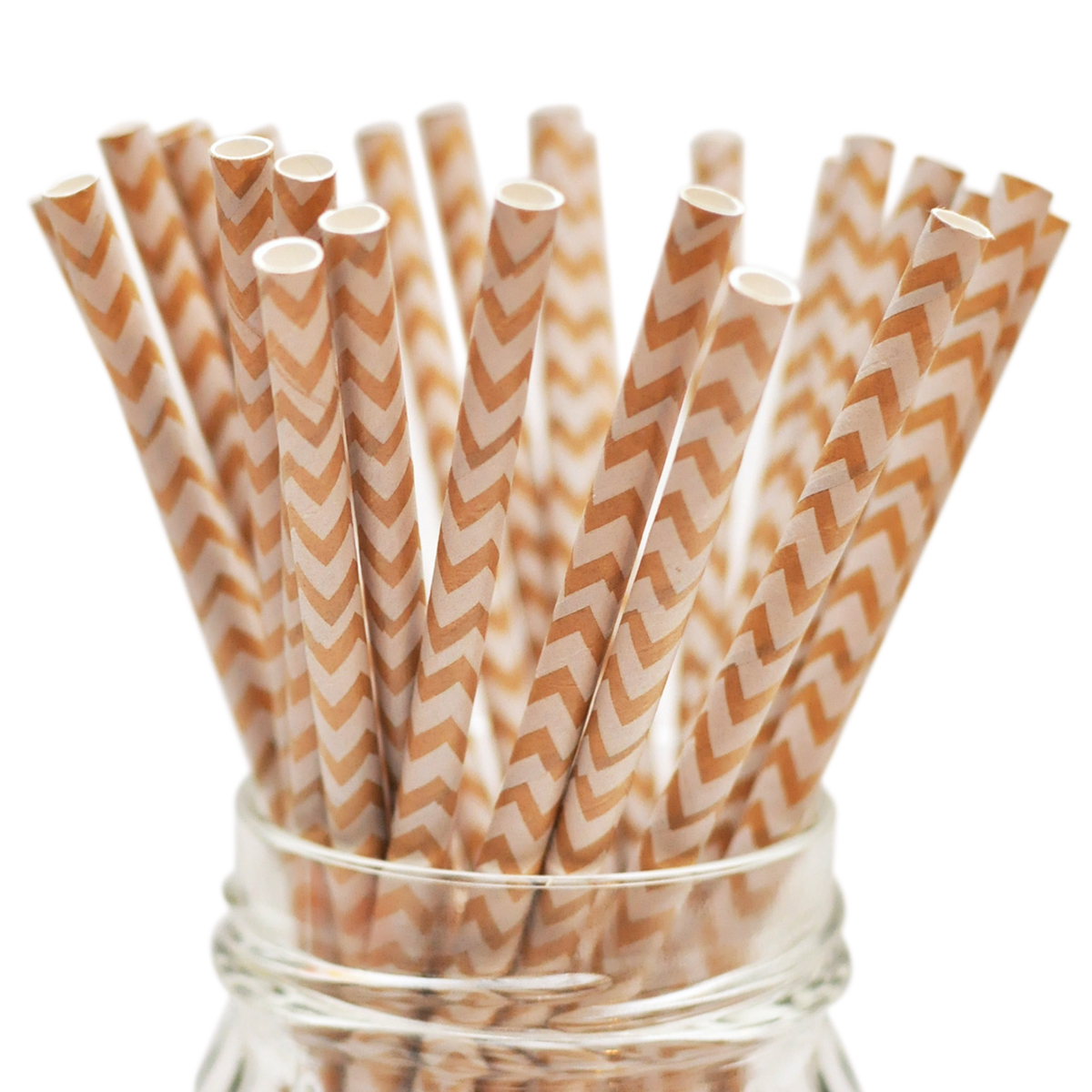 "Stylish Stix Paper Straws .25""X7.75"" 25/Pkg-Kraft Chevron White"
