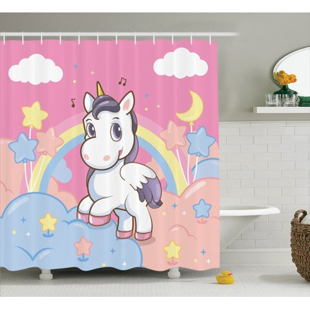Teen Girls Decor Shower Curtain Set, Unicorn With Rainbow Music Notes Clouds In The Sky Decorative Artwork, Bathroom Accessories, 69W X 70L Inches, By Ambesonne - Girls In Shower