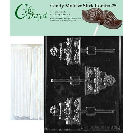 Cybrtrayd 45St25-W059 Wedding Cake Lolly Chocolate Candy Mold with 25 Cybrtrayd 4.5