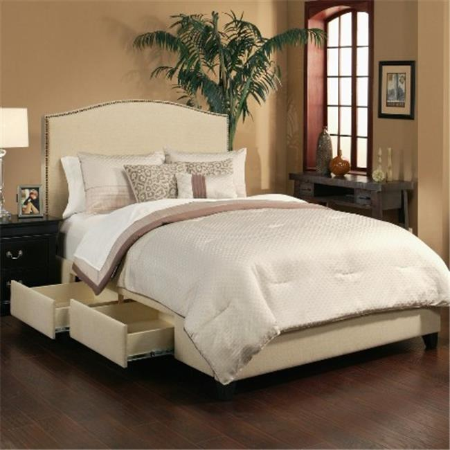 SeaHawk Designs 42603 Newport Wheat Four Drawer Storage Bed Base - Queen