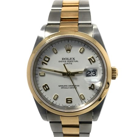 Date 15203 White Stick dial and an 18kt Yellow Gold Smooth Bezel (Certified - Bezel White Stick Dial