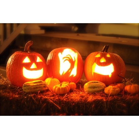 Canvas Print Autumn Halloween Horror October Pumpkin Orange Stretched Canvas 10 x 14 (Halloween Horror Nights October 31)