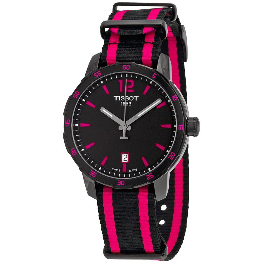 Tissot Quickster Black Dial Black and Hot Pink Nylon Unis...