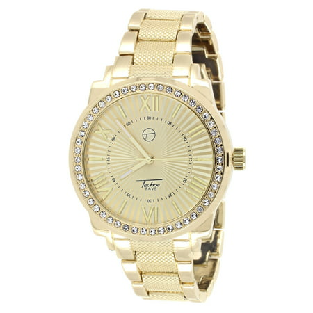Presidential Link Band Watch Gold Tone Techno Pave Simulated Diamond Roman -