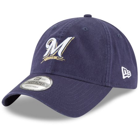 Milwaukee Brewers New Era Youth Core Classic Replica 9TWENTY Adjustable Hat - Navy - OSFA