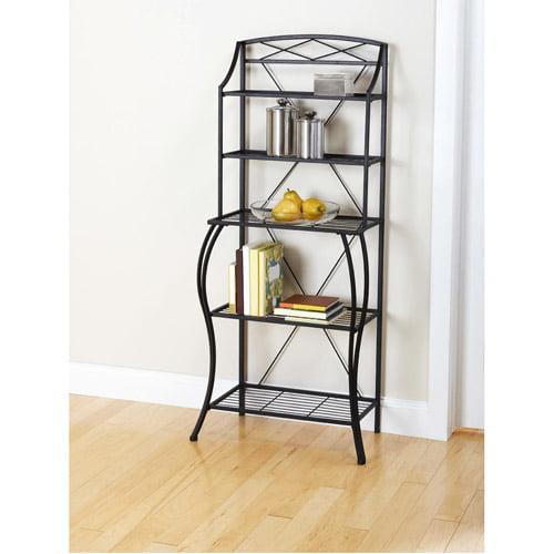 Kitchen Shelves Walmart: Mainstays Bakers Rack, Black