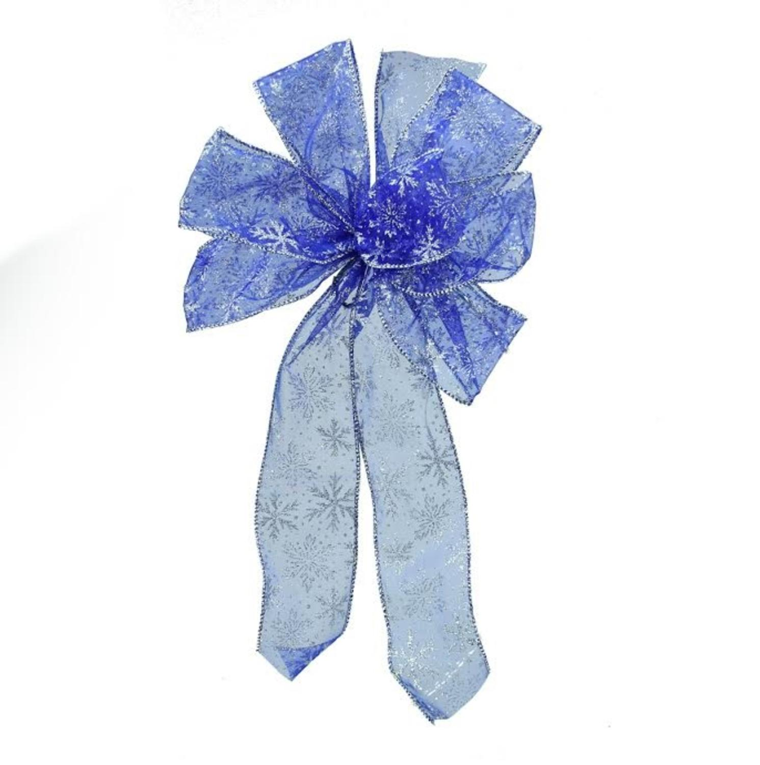 "8"" x 16"" Sheer Blue with Sparkling Snowflakes 6 Loop Bow Decoration"