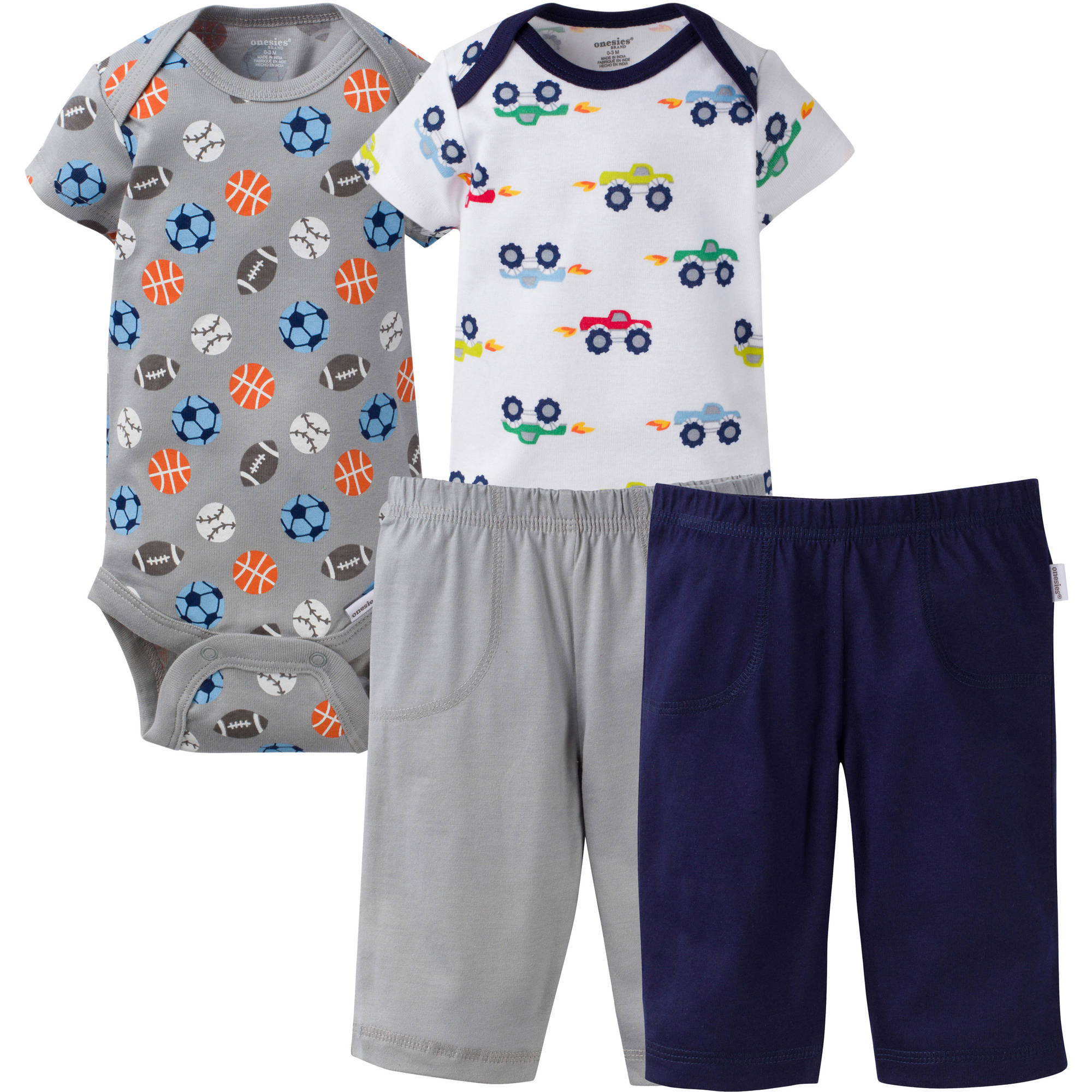 Onesies Brand Newborn Baby Boy Mix N'Match Bodysuits & Pants 4 Pc 100% Cotton Layette Set