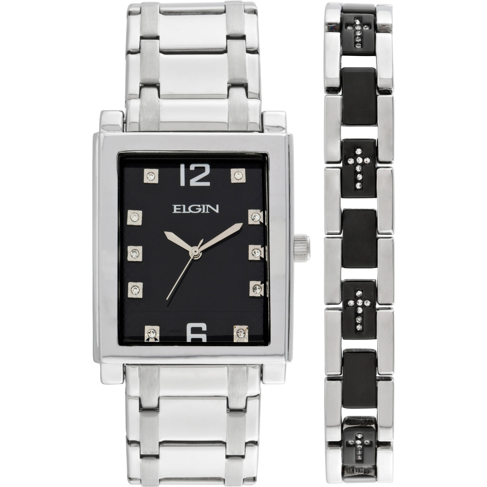 Elgin Men's Crystal Accent Silver-Tone and Black Watch and Cross Bracelet Set