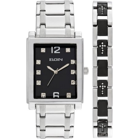 Men's Crystal Accent Silver-Tone and Black Watch and Cross Bracelet - Bezel Set Cross