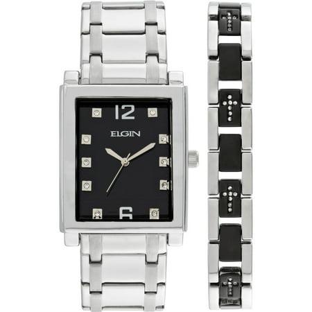 Men's Crystal Accent Silver-Tone and Black Watch and Cross Bracelet Set Crystal Set Bracelet Watch